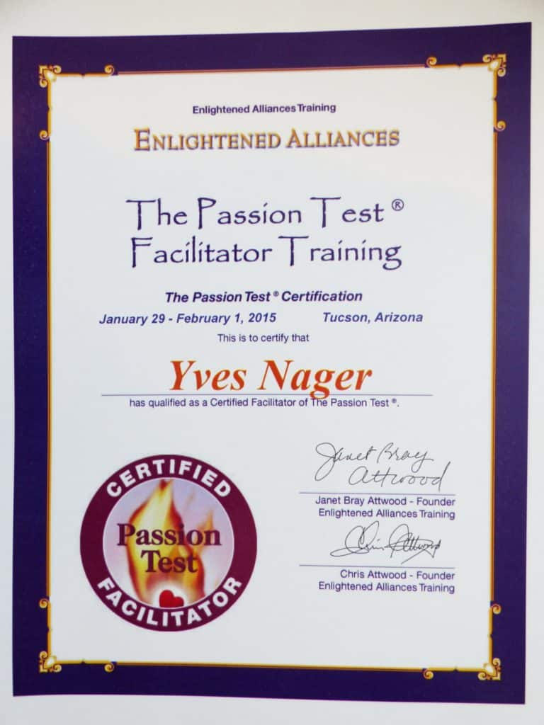 The Passion Test Offered by Yves Nager. A coaching process for setting your life on FIRE! Discover and align with your top 5 passions. This process gives you the tools to discover and align with your Top 5 Passions to put yourself on your own personal path to fulfilling your ultimate purpose or destiny.